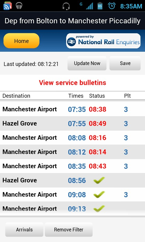 Train times 15th March 2012 - Bolton to Manchester